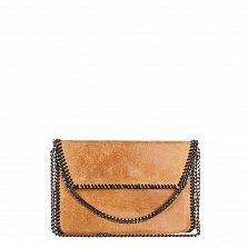 Кожаный клатч Genuine Leather 1009 рыжего цвета с цепочкой на плечо