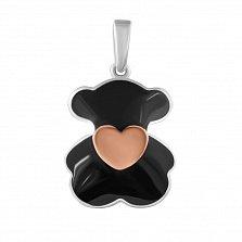 Серебряная подвеска Любимый мишка с золотой накладкой в форме сердечка  и черной эмалью