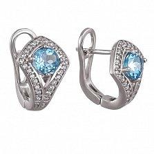 Серебряные серьги Спарта с голубыми топазами и фианитами
