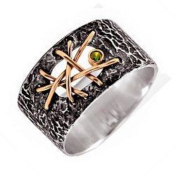 Кольцо из серебра Blindness с золотыми вставками, зеленым цирконием и чернением 000091353