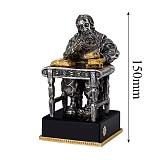 Бронзовая скульптура Бухгалтер с серебрением и позолотой на подставке из оптического стекла