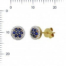 Серьги-пуссеты из желтого золота Ивори с бриллиантами и сапфирами
