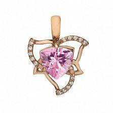 Золотой подвес с розовым топазом и фианитами Оделия