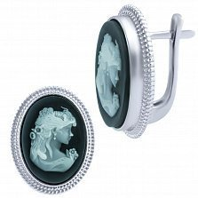 Серебряные серьги Камея с ониксом и перламутром