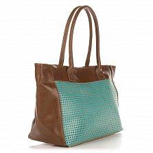 Кожаная сумка на каждый день Genuine Leather 8009 коричнево-бирюзового цвета на молнии