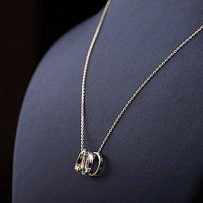 Золотое колье Стильное трио с цирконием