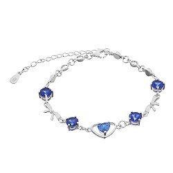 Серебряный браслет Селестина с синими фианитами 000033775