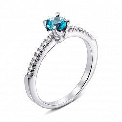 Серебряное кольцо с топазом и фианитами 000136793