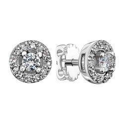 Серьги-пуссеты из белого золота с бриллиантами 000141730