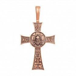 Золотой крест в комбинированном цвете без распятия с чернением 000129480