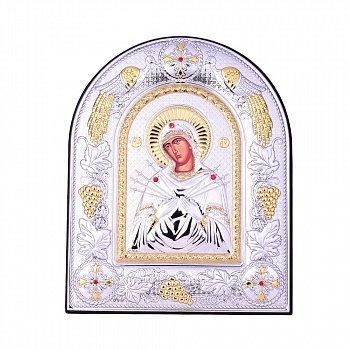 Посеребренная икона Богородица Семистрельная на подставке с красными кристаллами Swarovski 000131800
