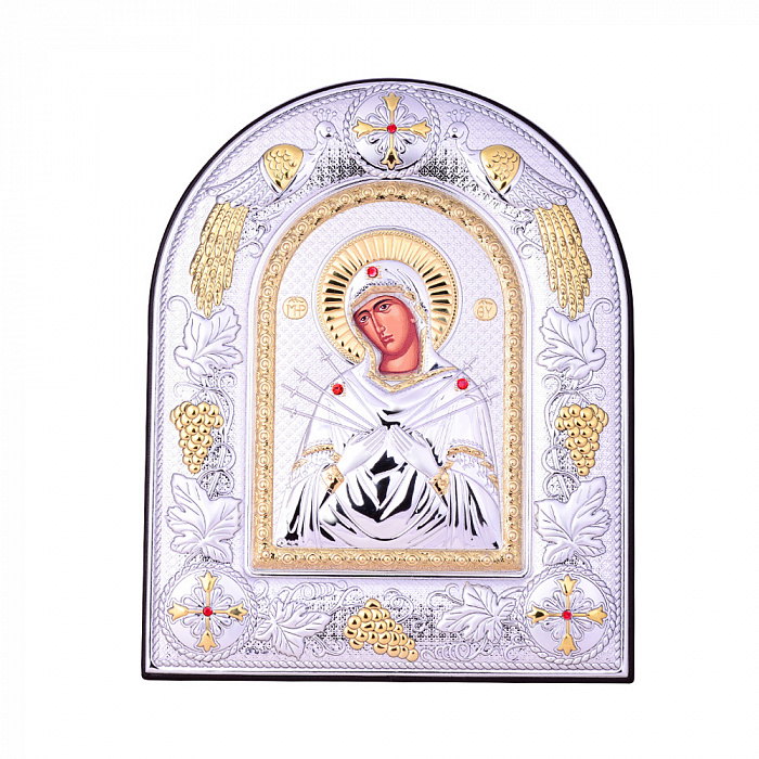 Посеребренная икона Богородица Семистрельная на подставке с красными кристаллами Swarovski 000131800 000131800