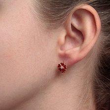 Серебряные позолоченные серьги Любимые цветочки с красной эмалью и фианитами