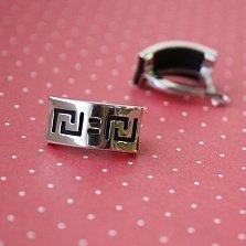 Серебряные серьги Меандр с каучуковыми вставками
