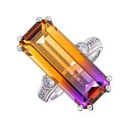 Серебряное кольцо с аметрином и фианитами 000148369