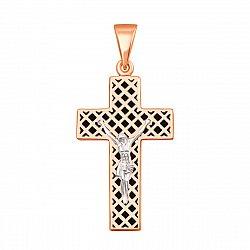 Золотой крестик Спасение в комбинированном цвете с черной эмалью