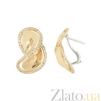 Золотые серьги с фианитами Инди 2С211-0031