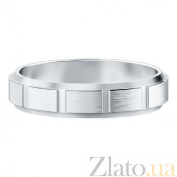 Мужское обручальное кольцо из белого золота Покорившие судьбу 423