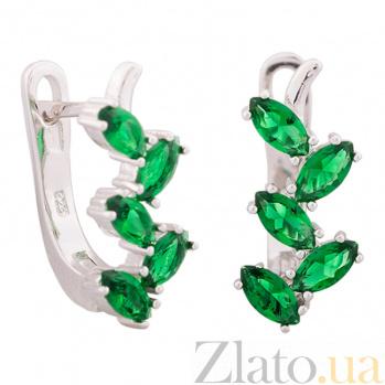 Серьги из серебра с зелеными фианитами Ветвь SLX--С2ФИ/389