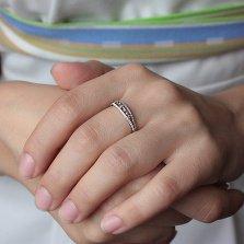 Золотое кольцо Диадора в белом цвете с бриллиантами