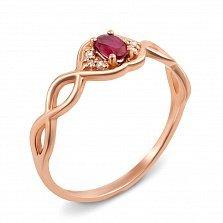 Кольцо из красного золота с рубином и бриллиантами 000125425