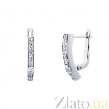 Серебряные серьги с фианитами Глория 000027092