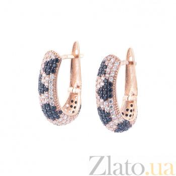 Золотые серьги Жанна с черными и белыми фианитами 000082633