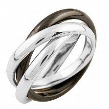 Серебряное кольцо Адония с черной керамикой