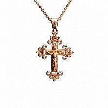 Золотой крестик Вечная защита в красном цвете металла