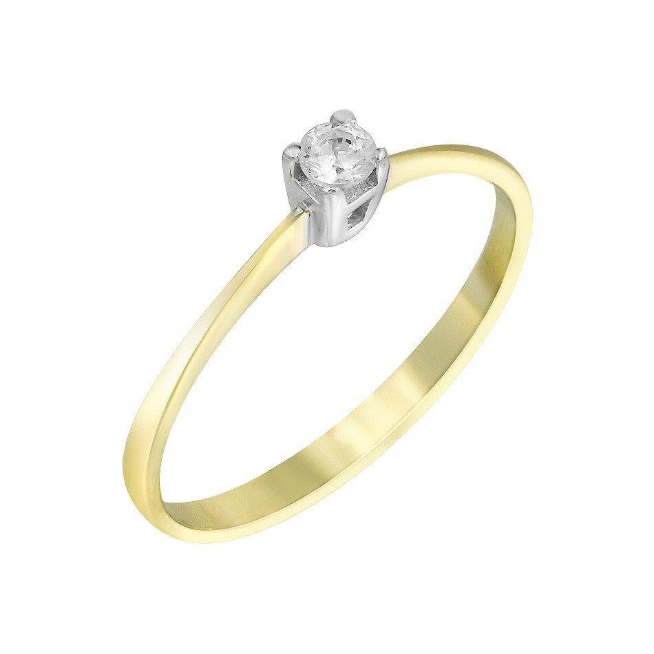 Золотое помолвочное кольцо Хумирия в комбинированном цвете с фианитом