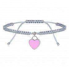 Детский серый браслет Сердце, плетеный с cеребряной подвеской, фианитом и розовой эмалью, 10х20см