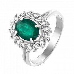 Золотое кольцо с изумрудом и бриллиантами 000064818
