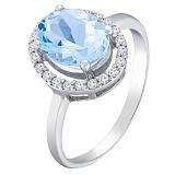 Серебряное кольцо Эйвис с фианитом под топаз и белыми фианитами
