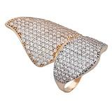 Золотое кольцо с фианитами Баттерфляй