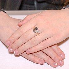 Золотое кольцо Листья с фианитом