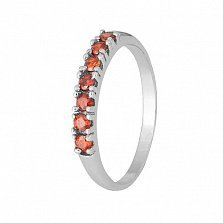 Серебряное кольцо с красными фианитами Хельга