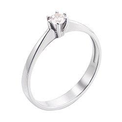 Кольцо из белого золота с фианитом 000103786