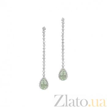 Серебряные серьги с празиолитом и цирконием Иветта 3С934-0076