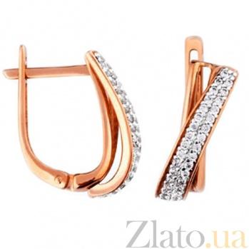 Золотые серьги с фианитами Джейн SUF--110371
