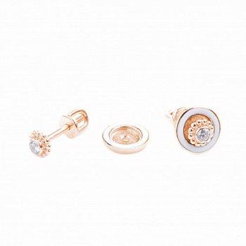 Золотые сережки-трансформеры с белой эмалью и фианитом 000050800