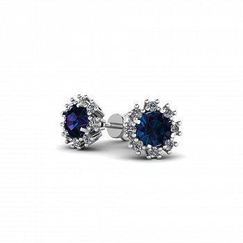 Серебряные серьги-пуссеты Анюта с синим алпанитом и фианитами 000069264