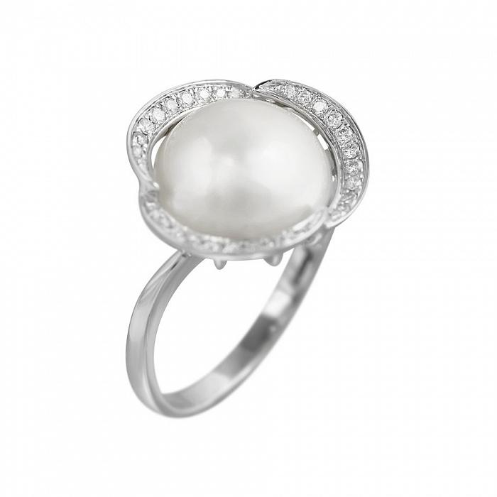 Кольцо из белого золота Лоурен с жемчугом и бриллиантами 000080881