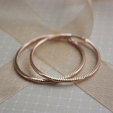Серебряные позолоченные серьги-конго Миди с алмазной насечкой, 37мм