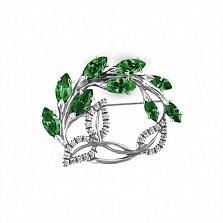 Брошь из серебра Цветущая ветвь с зелеными и белыми фианитами