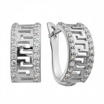 Серебряные серьги с цирконием 000029054