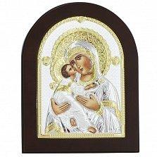Икона на деревянной основе Владимирская с эмалью и позолотой,13х17