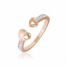 Серебряное кольцо Притяжение с позолотой и фианитами