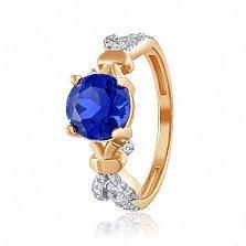 Золотое кольцо Анонс с корундом сапфира и фианитами