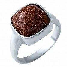 Серебряное кольцо Изида с коньячным авантюрином