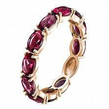 Золотое кольцо Альварра в красном цвете с рубинами